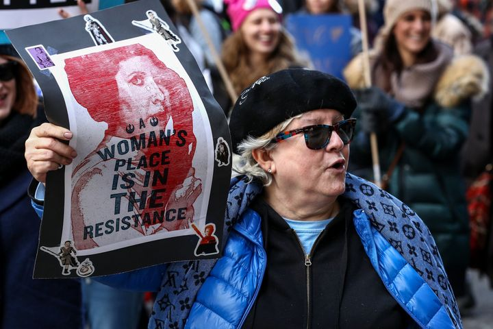 Protesters participate in the Women's March against U.S. President Donald J. Trump in Chicago, United States on Jan. 20, 2018