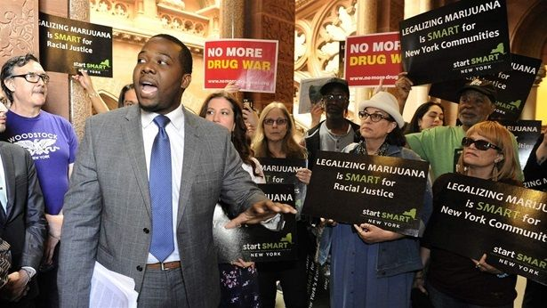 Chris Alexander, policy coordinator for the Drug Policy Alliance, advocates for marijuana legislation at the state Capitol in