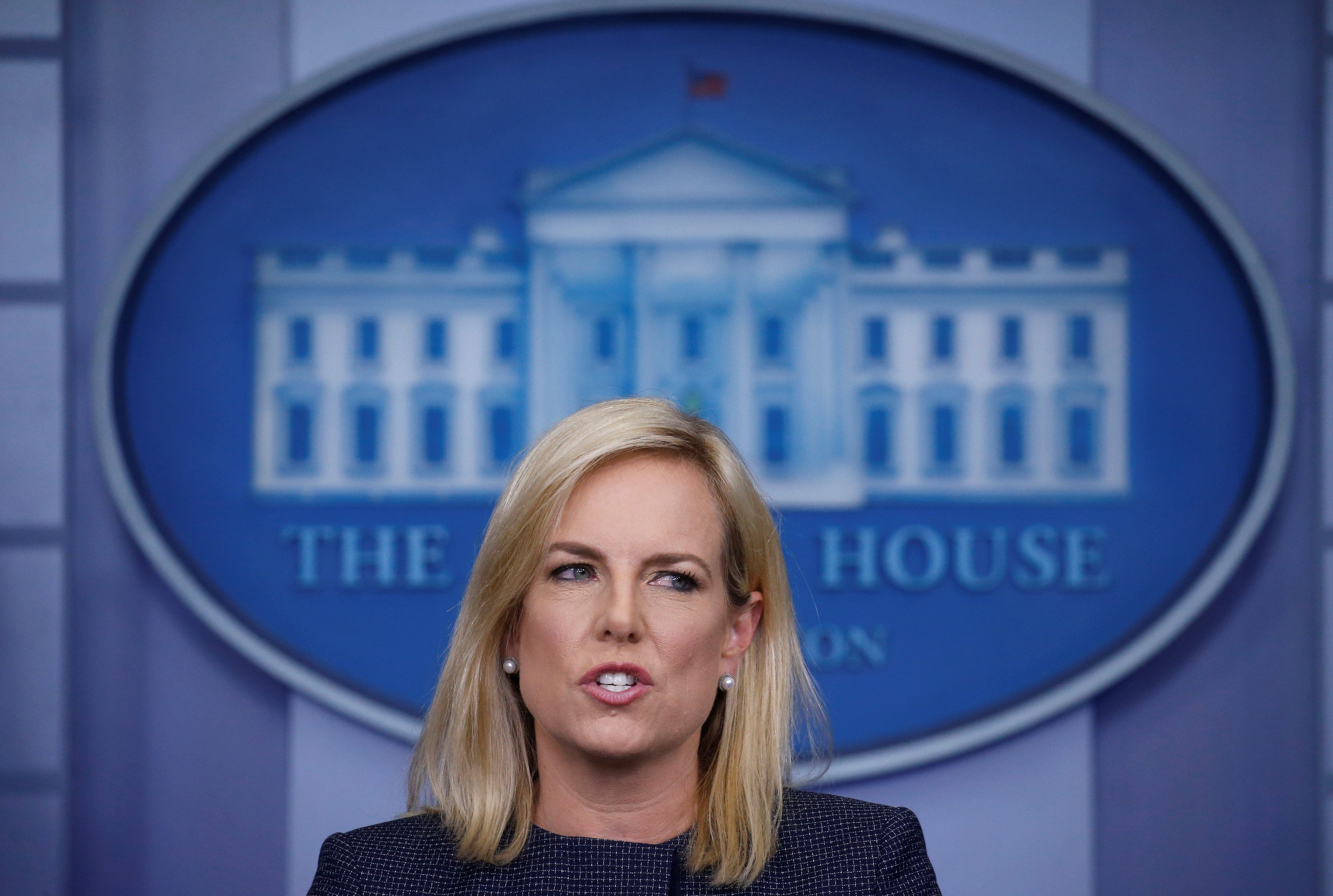United States Secretary of Homeland Security Kirstjen Nielsen answers questions during the daily briefing at the White House in Washington, D.C., U.S., June 18, 2018. REUTERS/Leah Millis