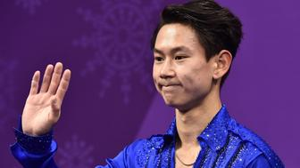 Kazakhstan's Denis Ten reacts after competing in the men's single skating short program of the figure skating event during the Pyeongchang 2018 Winter Olympic Games at the Gangneung Ice Arena in Gangneung on February 16, 2018. / AFP PHOTO / ARIS MESSINIS        (Photo credit should read ARIS MESSINIS/AFP/Getty Images)