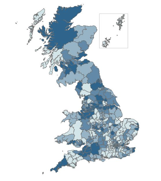 People on Universal Credit by local authority of June 2018. The darker areas of the map are local authorities with higher numbers of Universal Credit claimants. The North West region, where rollout started, has the largest number of claimants.