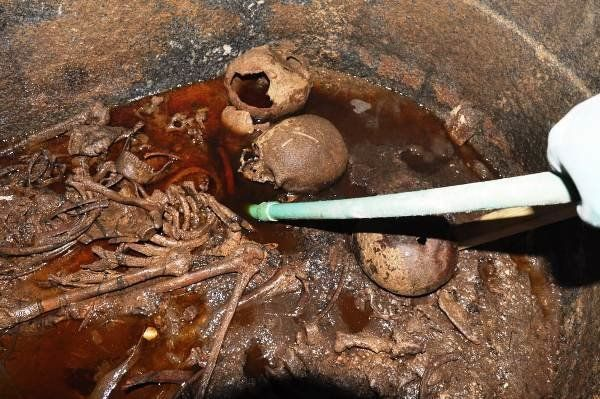 Authorities said they discovered three skeletons inside of the sarcophagus