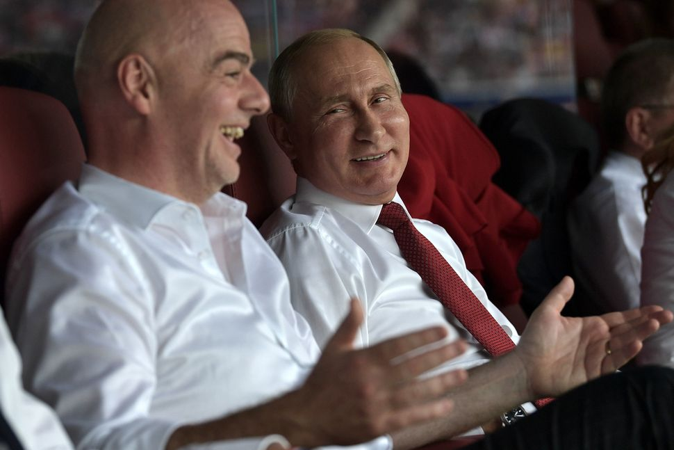 Infantino and Putin in a VIP box at the World Cup final between France and Croatia on July 15.