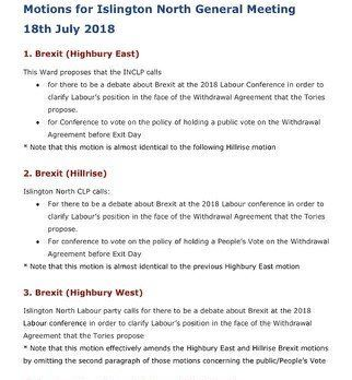 The motions tabled by activists in Corbyn's local party