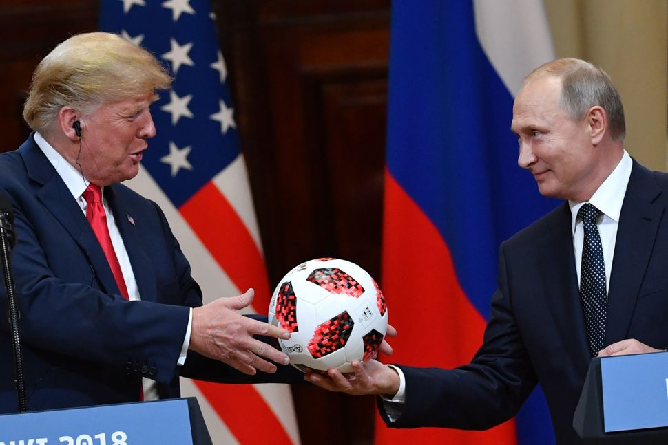 The day after the World Cup final, Putin presented President Donald Trump with a commemorative soccer ball. Trump congratulat
