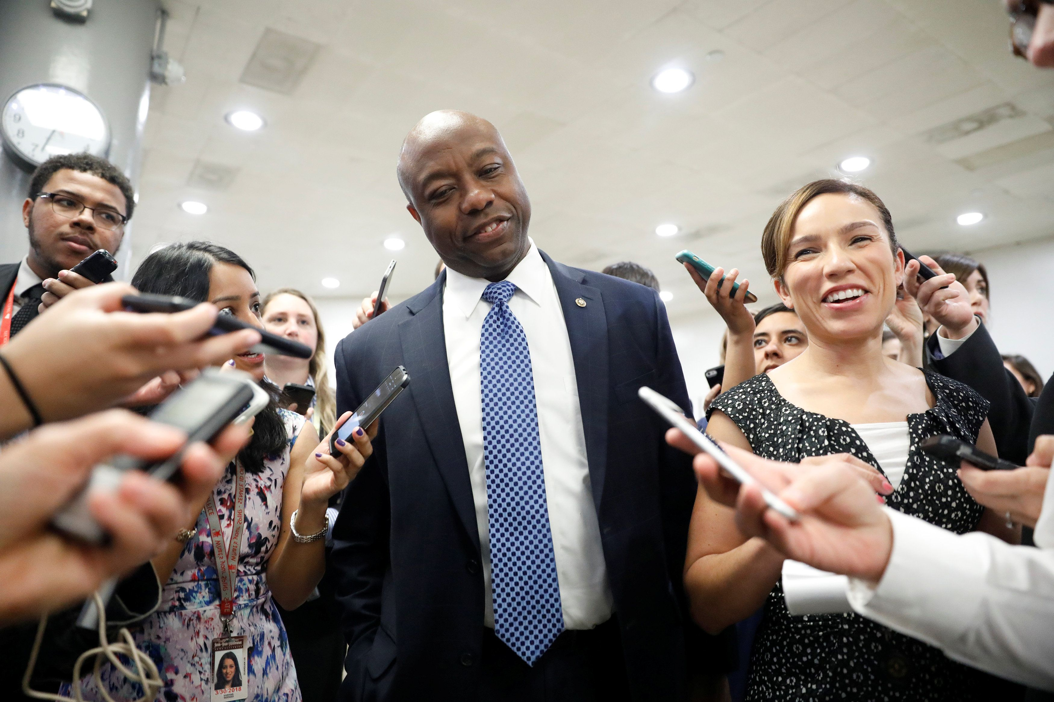 Sen. Tim Scott (R-SC) speaks to reporters about recent revelations of President Donald Trump sharing classified information with Russian Officials on Capitol Hill in Washington, D.C., U.S. May 16, 2017.  REUTERS/Aaron P. Bernstein