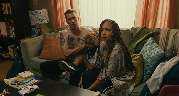 "In a scene from ""Blindspotting,"" Miles (played by Rafael Casal) and his girlfriend, Ashley (played by Jasmine Cephas Jones),"