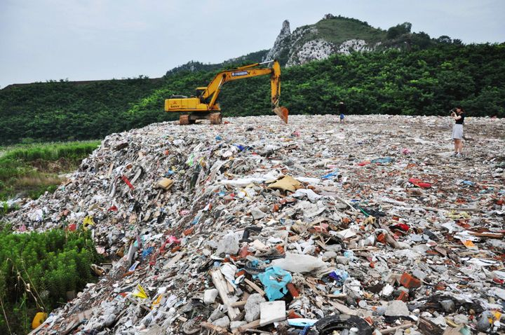 A garbage dump site near Taihu Lake, Jiangsu province, China. On Jan. 1, 2018, the country closed its borders to several