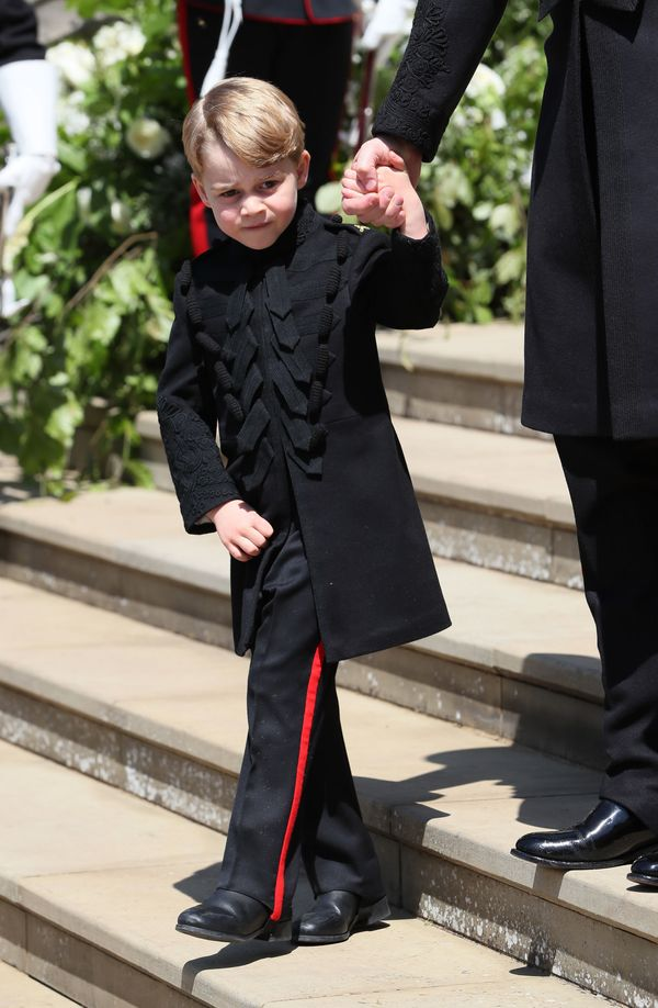 Prince George leaves St George's Chapel at Windsor Castle after the wedding of Prince Harry, Duke of Sussex and Meghan Markle