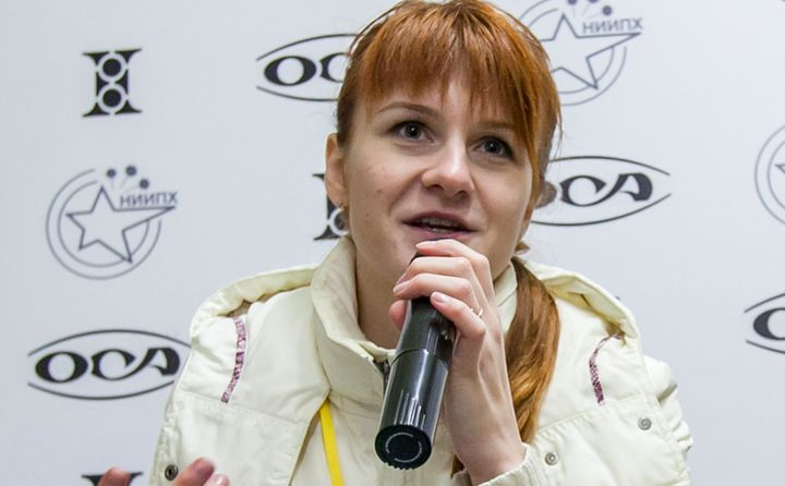 Maria Butina speaks on Oct. 8, 2013, during a press conference in Moscow. U.S. prosecutors accuse her of working covertly for