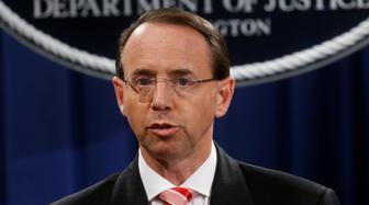 Deputy U.S. Attorney General Rod Rosenstein announces grand jury indictments of 12 Russian intelligence officers in special counsel Robert Mueller's Russia investigation, during a news conference at the Justice Department in Washington, U.S., July 13, 2018. REUTERS/Leah Millis