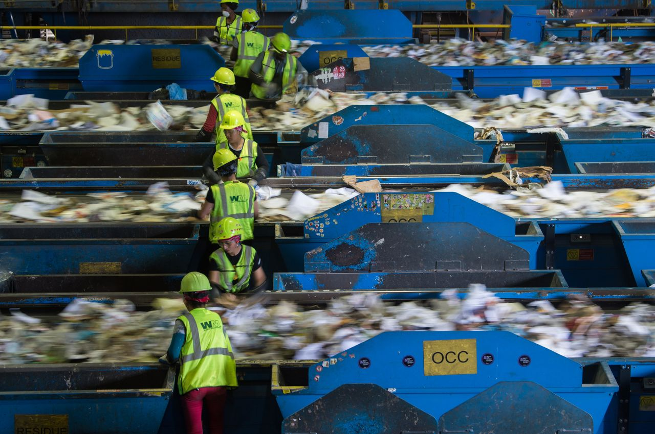 The Waste Management Material Recovery Facility in Elkridge, Maryland, says it's had to pay to get rid of huge amounts of paper and plastic that it would have normally sold to China.