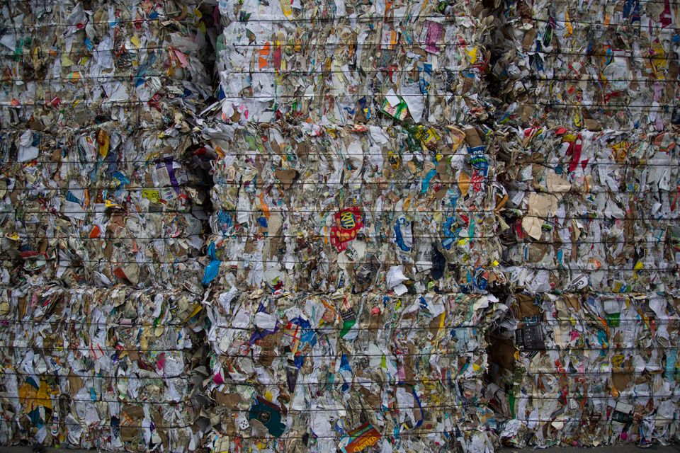Bales of recyclables at an Ecomaine recycling facility in Portland, Maine. Ecomaine is one of many U.S....