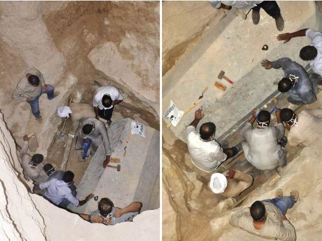 이집트에서 발견된 화강암 석관.