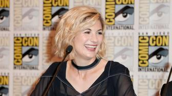SAN DIEGO, CA - JULY 19:  Jodie Whittaker attends BBC America's 'Doctor Who' at Comic-Con International 2018 at San Diego Convention Center on July 19, 2018 in San Diego, California.  (Photo by Joe Scarnici/Getty Images for BBC America)