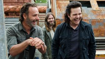 Andrew Lincoln as Rick Grimes, Tom Payne as Paul 'Jesus' Rovia, Josh McDermitt as Dr. Eugene Porter - The Walking Dead _ Season 8, Episode 1 - Photo Credit: Gene Page/AMC