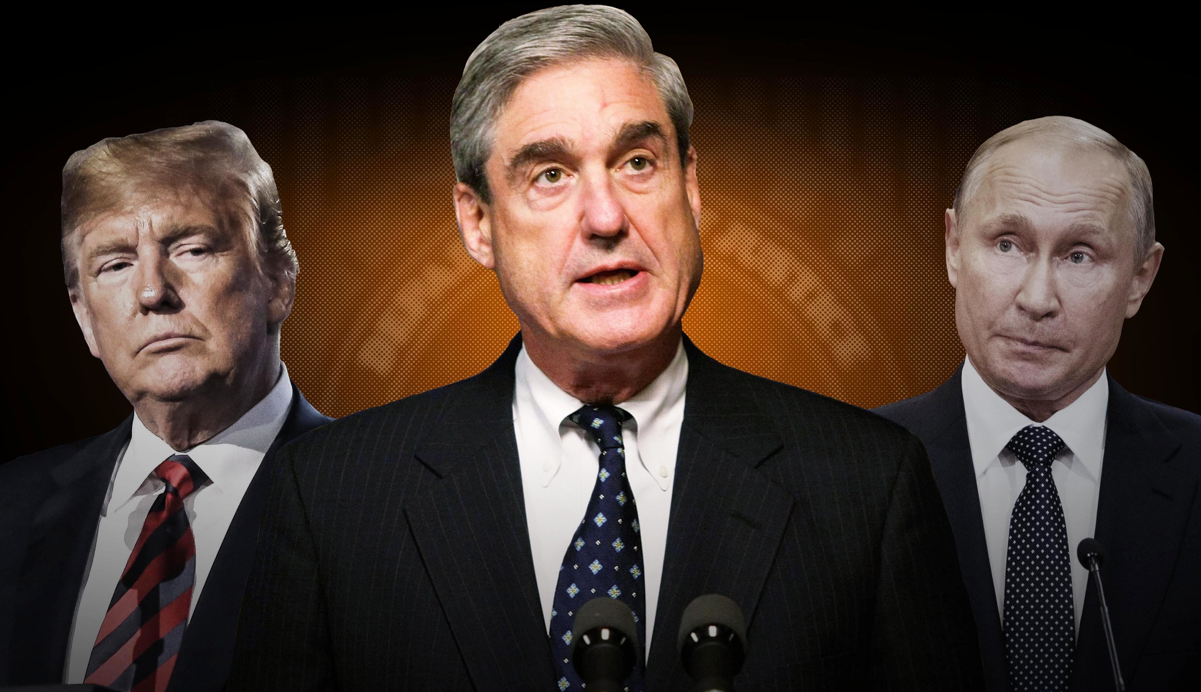 Special counsel Robert Mueller, center, is looking into Russian interference in the 2016 election. It's...