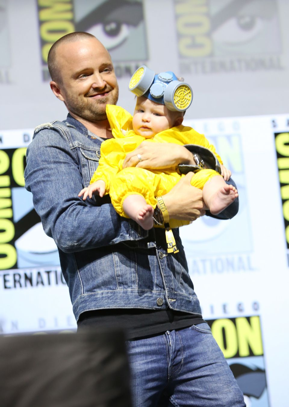 SAN DIEGO, CA - JULY 19:  Aaron Paul and Story Annabelle Paul attend the Breaking Bad 10th Anniversary Celebration with AMC d