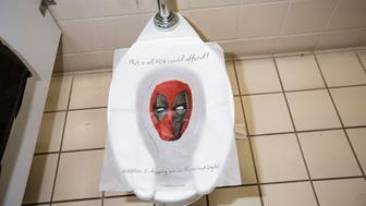SAN DIEGO, CA - JULY 19:  A limited number of toilet seat covers advertising Deadpool 2's upcoming release on DVD were placed in restrooms around Comic-Con International on July 19, 2018 in San Diego, California.  (Photo by Daniel Knighton/FilmMagic)