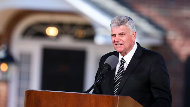 Franklin Graham delivers the eulogy during the funeral of his father Reverend Dr. Billy Graham in Charlotte, North Carolina. Graham, who preached to millions of faithful face to face over his decades-long career and tens of millions more through the power of television, died last week at age 99, leaving a Christian evangelist movement without its best known champion of modern times. / AFP PHOTO / Logan Cyrus        (Photo credit should read LOGAN CYRUS/AFP/Getty Images)