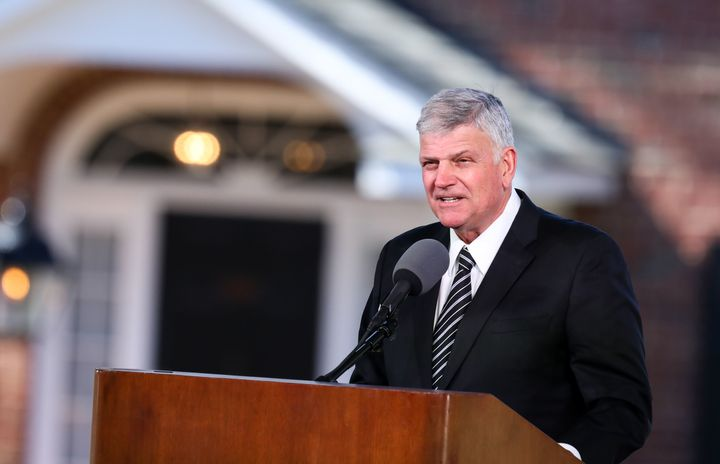 Franklin Graham delivers the eulogy during the funeral of his father, the Reverend Billy Graham, in Charlotte, North Carolina