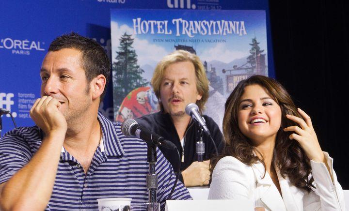 "Adam Sandler, David Spade and Selena Gomez promote ""Hotel Transylvania"" at the Toronto International Film Festival on Sept. 8"
