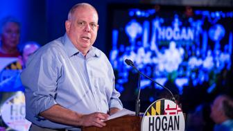 ANNAPOLIS, MARYLAND - JUNE 9: Maryland Governor Larry Hogan addresses supporters during a reelection campaign kick-off at the Union Jack's British Pub on Saturday, June 9, 2018 in Annapolis, Maryland. (Photo by Pete Marovich For The Washington Post via Getty Images)