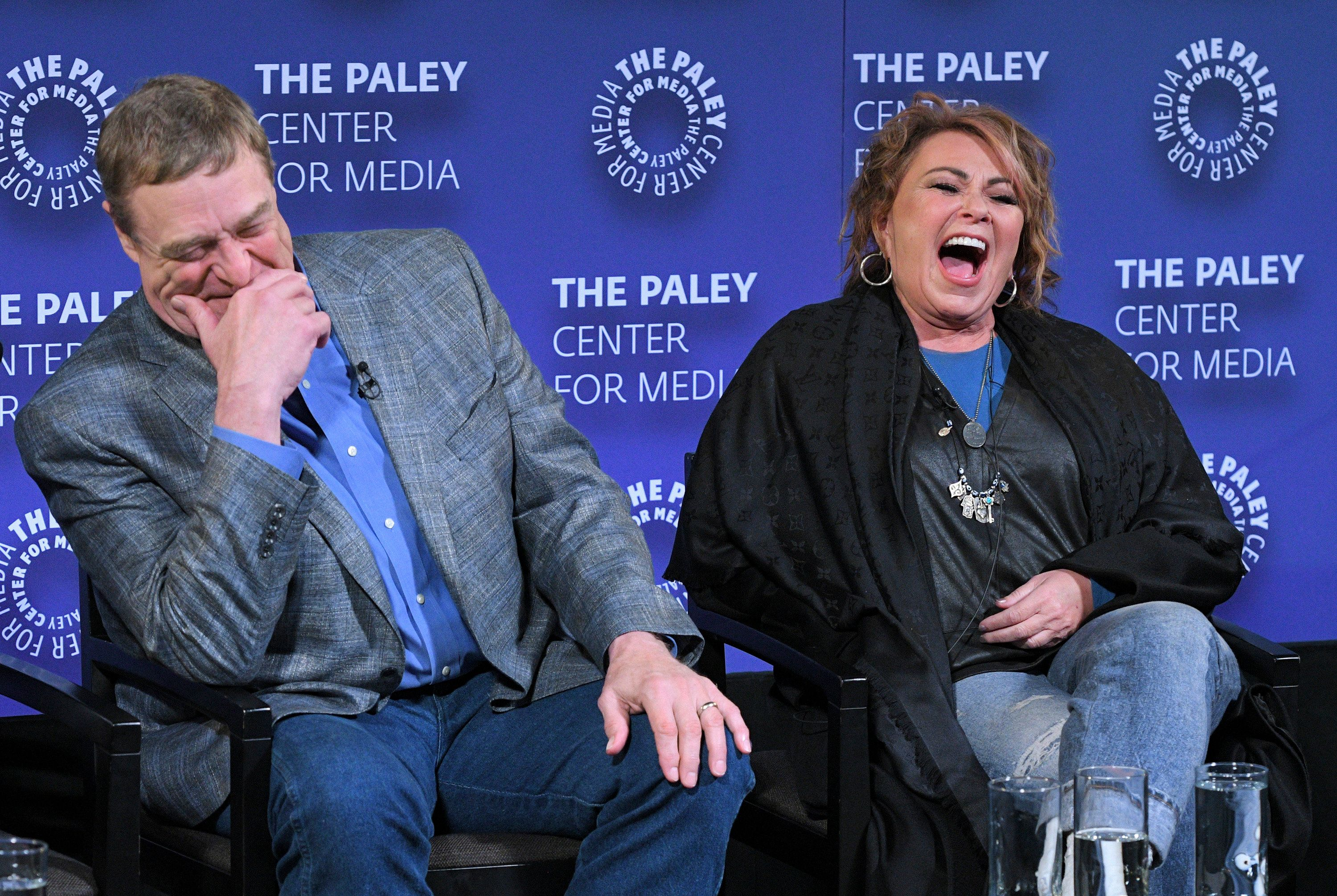 ROSEANNE - In anticipation of the show's revival for a 10th season, the ROSEANNE cast gathered for an episode screening and Q&A panel at the Paley Center for Media on Monday, March 26th in New York City. Moderated by ENTERTAINMENT WEEKLY's Kristen Baldwin, the sold-out crowd heard stories from stars Roseanne Barr, John Goodman, Sara Gilbert, Lecy Goranson, Michael Fishman and Sarah Chalke. ROSEANNE airs Tuesday nights at 8PM ET on the ABC Television Network. (Lorenzo Bevilaqua via Getty Images) JOHN GOODMAN, ROSEANNE BARR (EXECUTIVE PRODUCER)