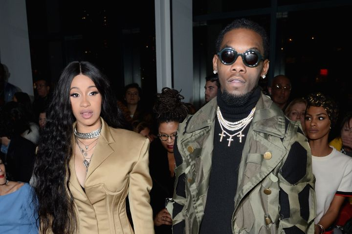 Cardi B and Offset attend a fashion show on Feb. 11 in New York City.