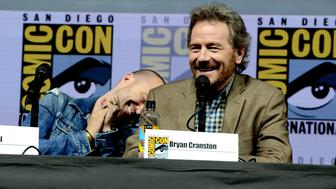 SAN DIEGO, CA - JULY 19:  Aaron Paul (L) and Bryan Cranston speak onstage during the 'Breaking Bad' 10th Anniversary Celebration during Comic-Con International 2018 at San Diego Convention Center on July 19, 2018 in San Diego, California.  (Photo by Albert L. Ortega/Getty Images)