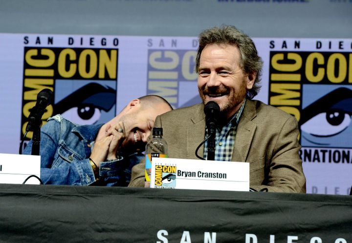 """Aaron Paul (left) and Bryan Cranstonmarked 10 years since the premiere of """"Breaking Bad""""at Comic-Con"""