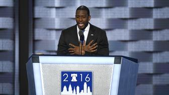 Andrew Gillum, mayor of Tallahassee, speaks during the Democratic National Convention (DNC) in Philadelphia, Pennsylvania, U.S., on Wednesday, July 27, 2016. With the historic nomination for the first woman to run as the presidential candidate of a major U.S. political party, Democrats gathered in Philadelphia hoped they had turned a corner on Tuesday. Photographer: David Paul Morris/Bloomberg via Getty Images