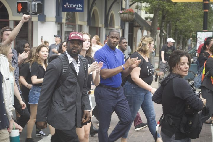 Tallahassee Mayor Andrew Gillum, center, remains many progressive groups' candidate of choice in Florida's Democr
