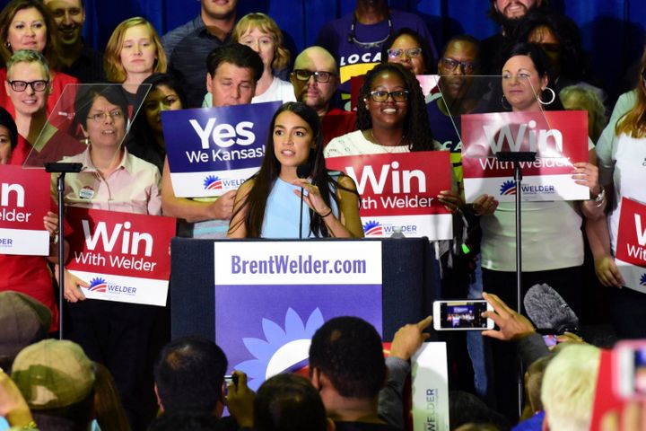 New York congressional candidate Alexandria Ocasio-Cortez speaks in support of Kansas Democrat Brent Welder in Kansas City, K