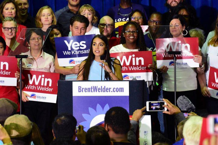New York congressional candidate Alexandria Ocasio-Cortez speaks in support of Kansas Democrat Brent Welder in Kansas City, K