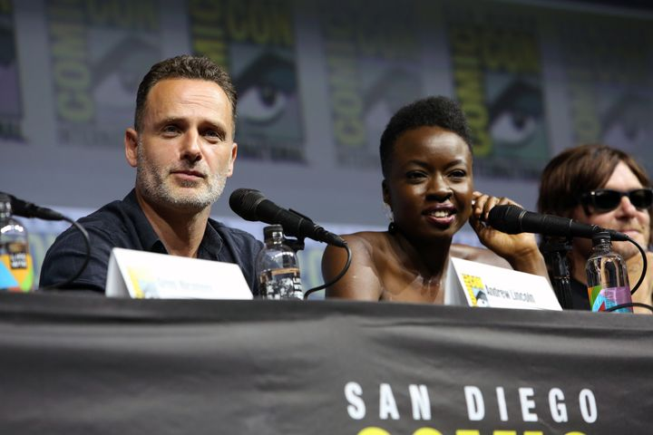 "Andrew Lincoln, Danai Gurira and Norman Reedus at SDCC ""Walking Dead"" panel."