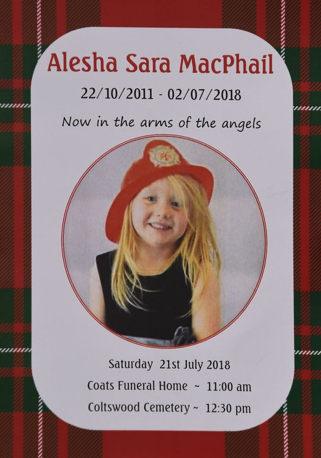 The order of service for the funeral of six-year-old Alesha MacPhail at the Coats Funeral Home, in Coatbridge, whose body was found on the Isle of Bute earlier this month.