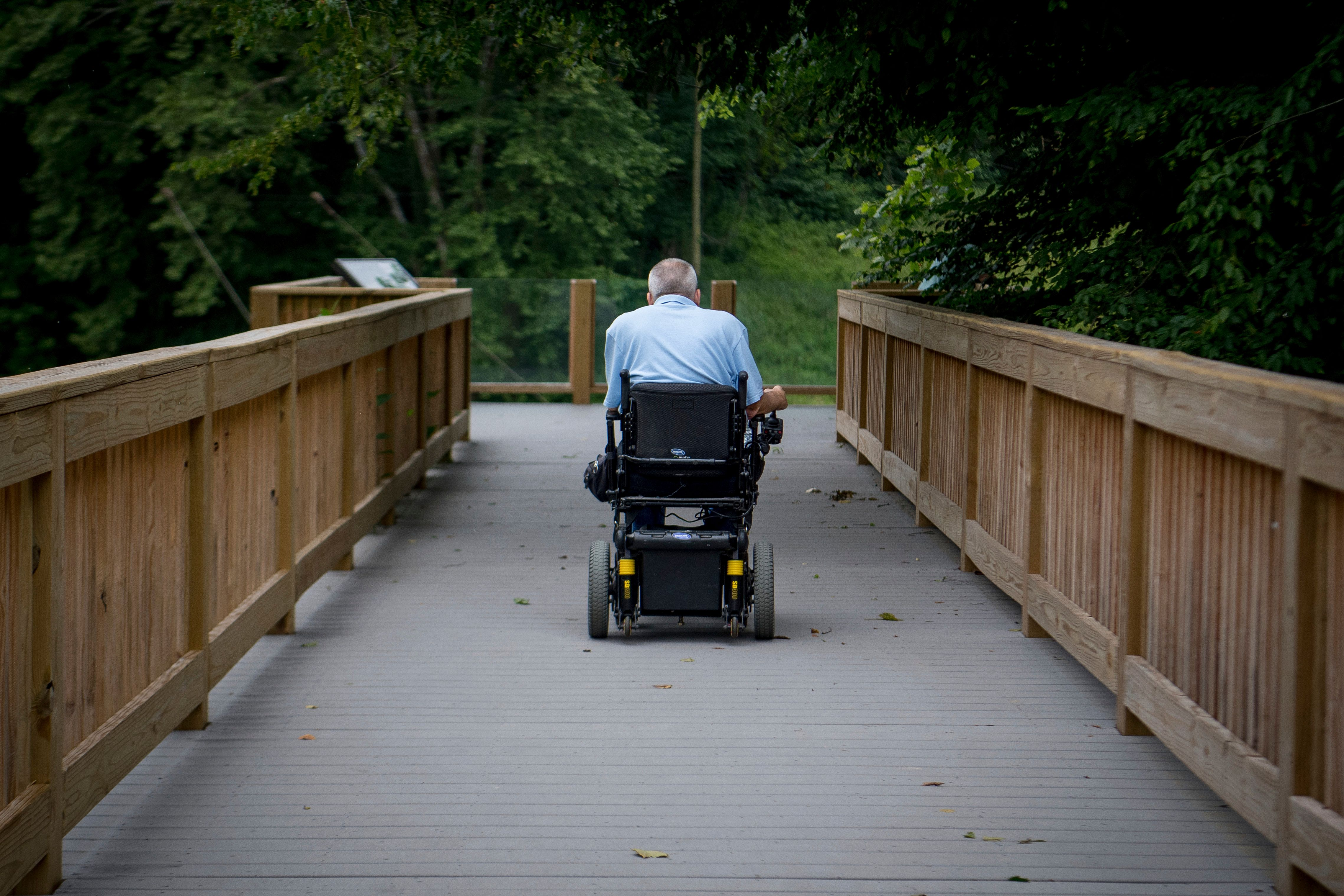 David Allgood uses a trail adapted for persons with disabilities to view a scenic overlook of the Green River at Mammoth Cave National Park in Cave City Ky Friday June 22 2018