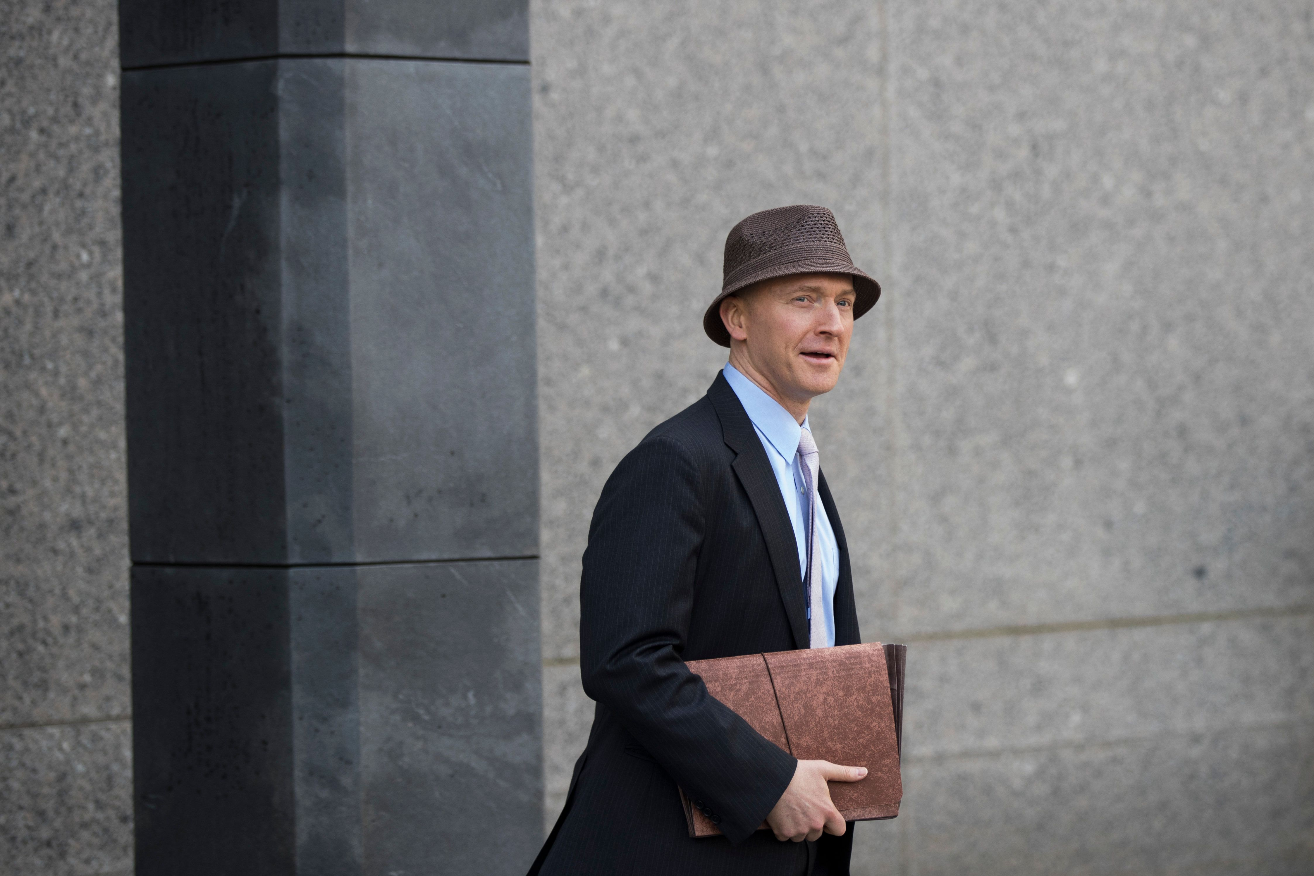 NEW YORK, NY - APRIL 16: Carter Page arrives at the courthouse on the same day as a hearing regarding Michael Cohen, longtime personal lawyer and confidante for President Donald Trump, at the United States District Court Southern District of New York, April 16, 2018 in New York City.  Cohen and lawyers representing President Trump are asking the court to block Justice Department officials from reading documents and materials related to Cohen's relationship with President Trump that they believe should be protected by attorney-client privilege. Officials with the FBI, armed with a search warrant, raided Cohen's office and two private residences last week.  (Photo by Drew Angerer/Getty Images)