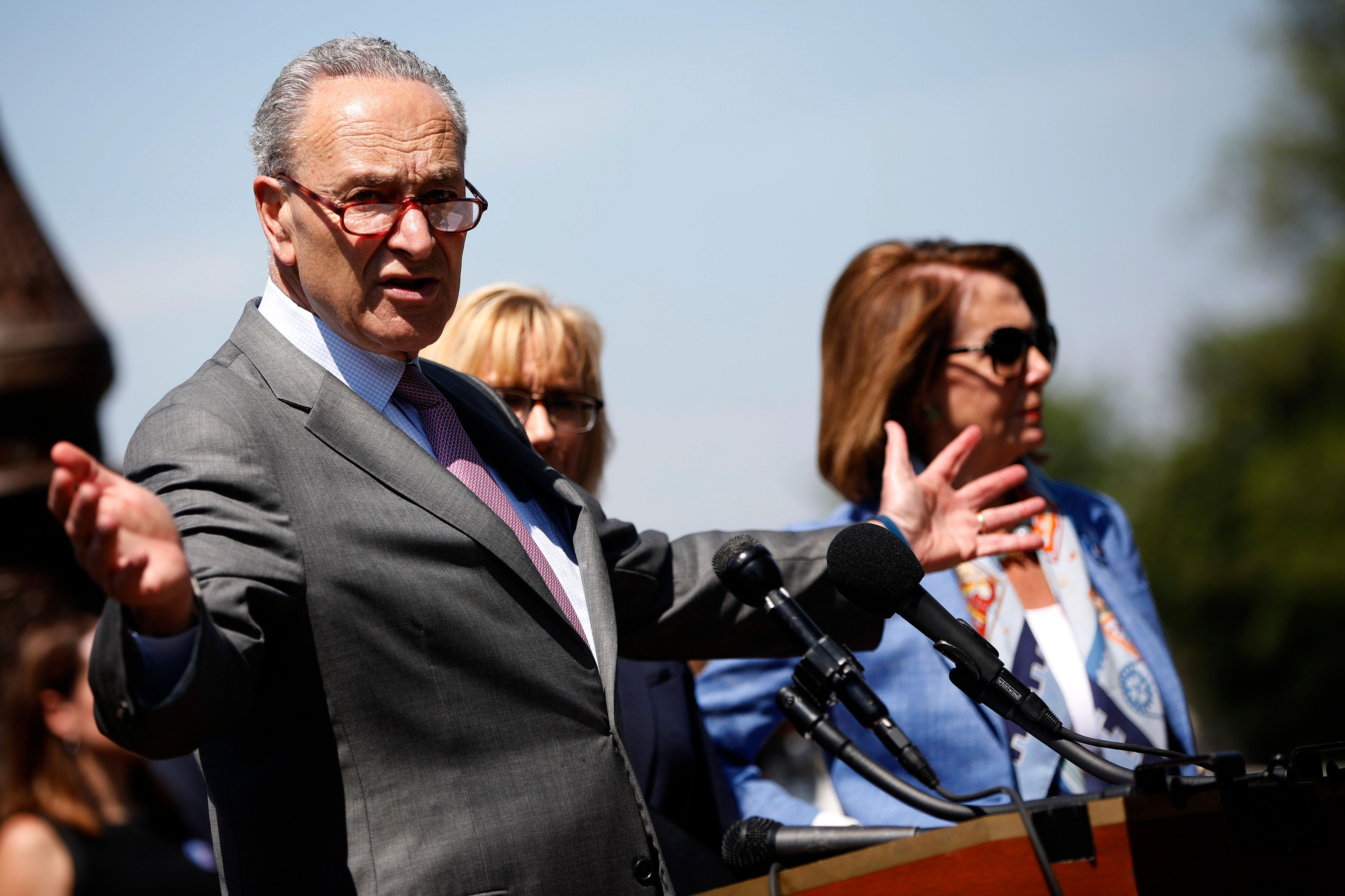 WASHINGTON, DC - JUNE 26: Senate Minority Leader Chuck Schumer (D-NY) alongside House Minority Leader Nancy Pelosi (D-CA) speaks with reporters outside the U.S. Capitol June 26, 2018 in Washington, DC. Democrats are calling on the administration to change its policy regarding the pre-existing conditions provisions of the Affordable Care Act. (Photo by Aaron P. Bernstein/Getty Images)