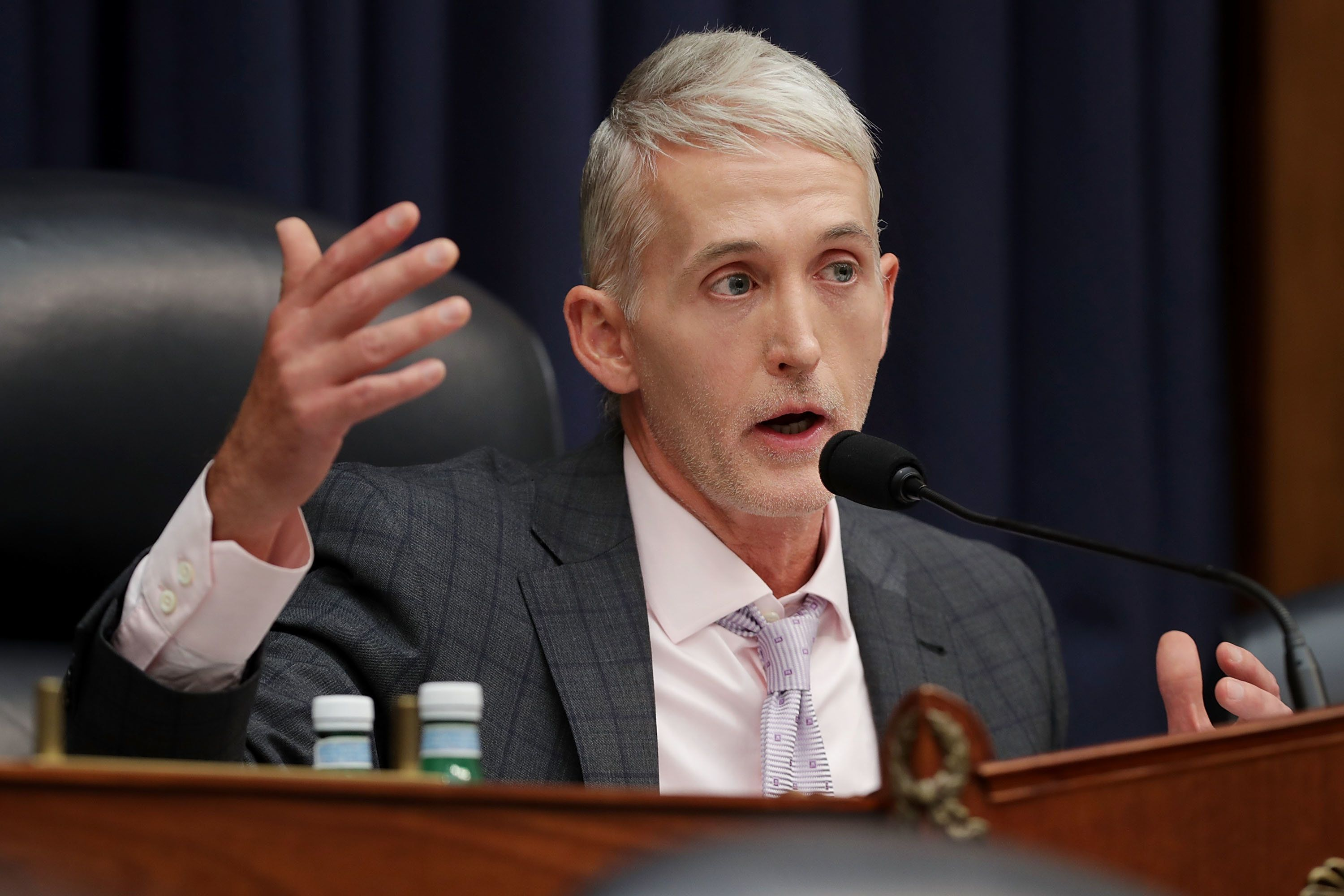 WASHINGTON, DC - JULY 12:  House Oversight and Government Reform Committee Chairman Trey Gowdy (R-SC) questions Deputy Assistant FBI Director Peter Strzok during ajoint hearing of his committee and the House Judiciary Committee in the Rayburn House Office Building on Capitol Hill July 12, 2018 in Washington, DC. While involved in the probe into Hillary ClintonÕs use of a private email server in 2016, Strzok exchanged text messages with FBI attorney Lisa Page that were critical of Trump. After learning about the messages, Mueller removed Strzok from his investigation into whether the Trump campaign colluded with Russia to win the 2016 presidential election.  (Photo by Chip Somodevilla/Getty Images)