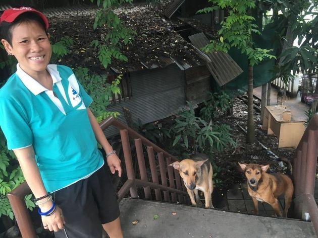 타이 북부 도시 치앙마이의 왓차이시품무에앙 주변에서 거리의 개들 사이에서 세 마리를 거둔 라(41)가 개들 앞에서 웃고