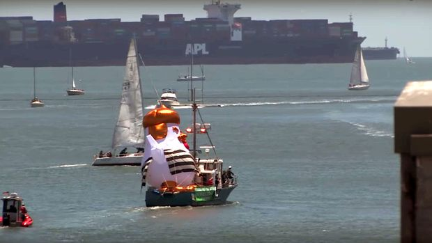 The Trump Chicken balloon was sailed around Alcatraz Island in San Francisco Bay on Sunday