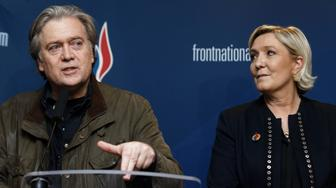 LILLE, FRANCE - MARCH 10:  France's far-right party Front National (FN) president Marine Le Pen and former US President advisor Steve Bannon give a joint press conference during the French far-right Front National (FN) party annual congress on March 10, 2018 at the Grand Palais in Lille, north of France. Le Pen will attempt to revive her battered party this weekend at a conference with a proposal to ditch the tainted National Front brand, seen as a key hurdle to winning power. on March 10, 2018 in Lille, France.  (Photo by Sylvain Lefevre/Getty Images)