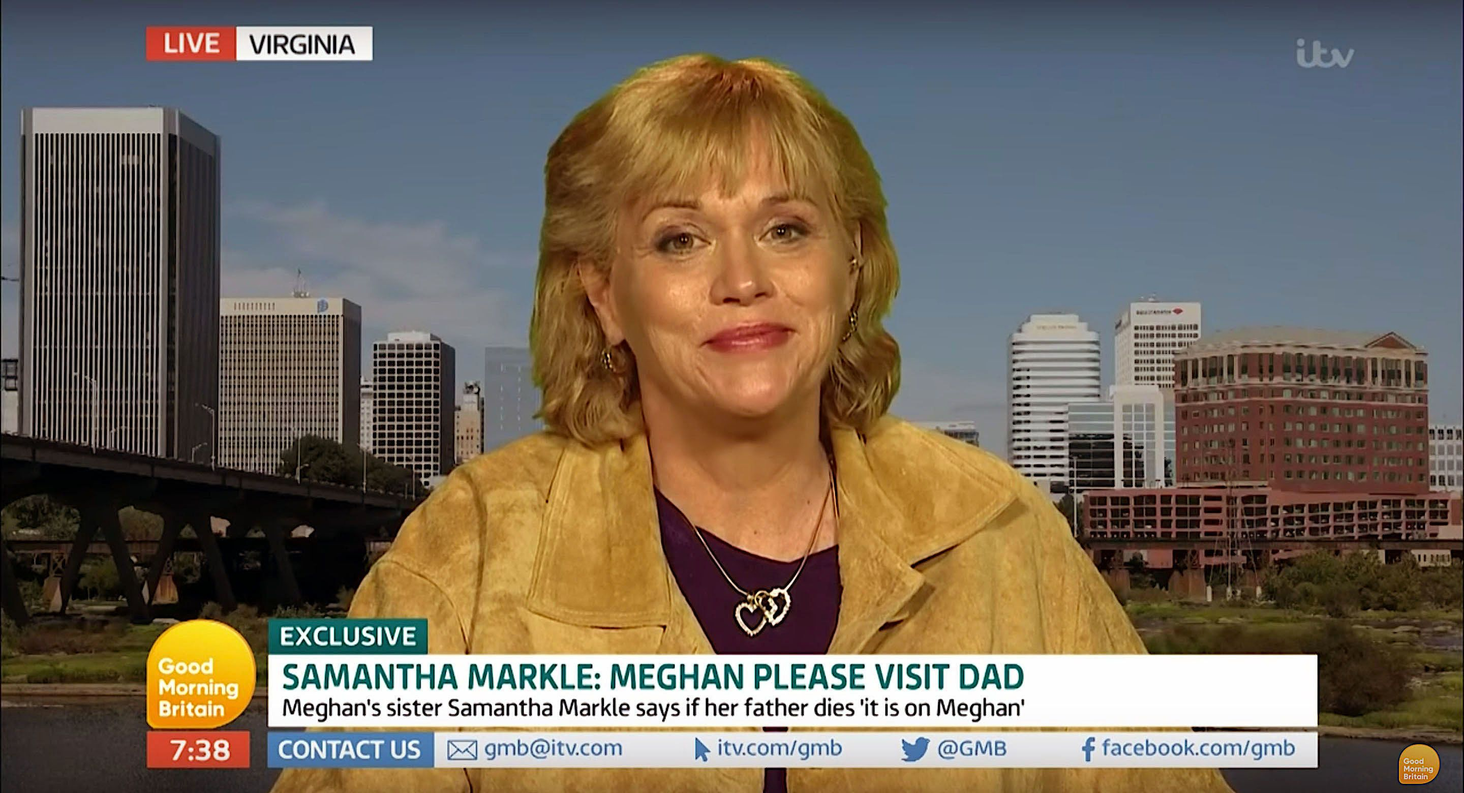 Samantha Markle appeared on Good Morning Britain to urge her half-sister Meghan Markle to contact their father