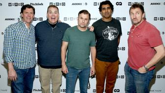 SAN DIEGO, CA - JULY 21: (L-R)  Erik Stolhanske, Kevin Heffernan, Steve Lemme, Jay Chandrasekhar, and  Paul Soter of 'Super Troopers 2' attends the 2018 WIRED Cafe at Comic Con presented by AT&T Audience Network at Omni Hotel on July 21, 2018 in San Diego, California.  (Photo by Phillip Faraone/Getty Images for WIRED)
