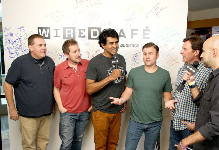 "Kevin Heffernan, Paul Soter, Jay Chandrasekhar, Steve Lemme and Erik Stolhanske of ""Super Troopers 2."""