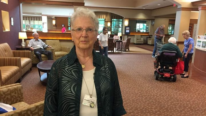 Kathleen Henry, 80, leads voter registration at Greenspring retirement community in Springfield, Virginia. New mobile polling