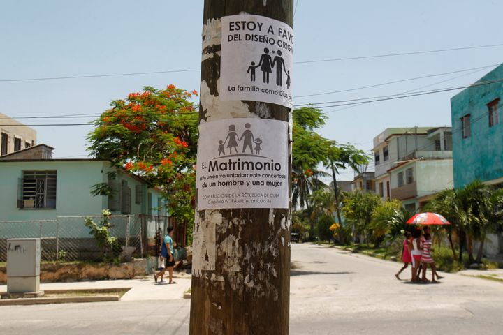 A placard opposing gay marriage is seen on a pole in Havana, Cuba, July 19, 2018. Picture taken July 19, 2018. The placard re