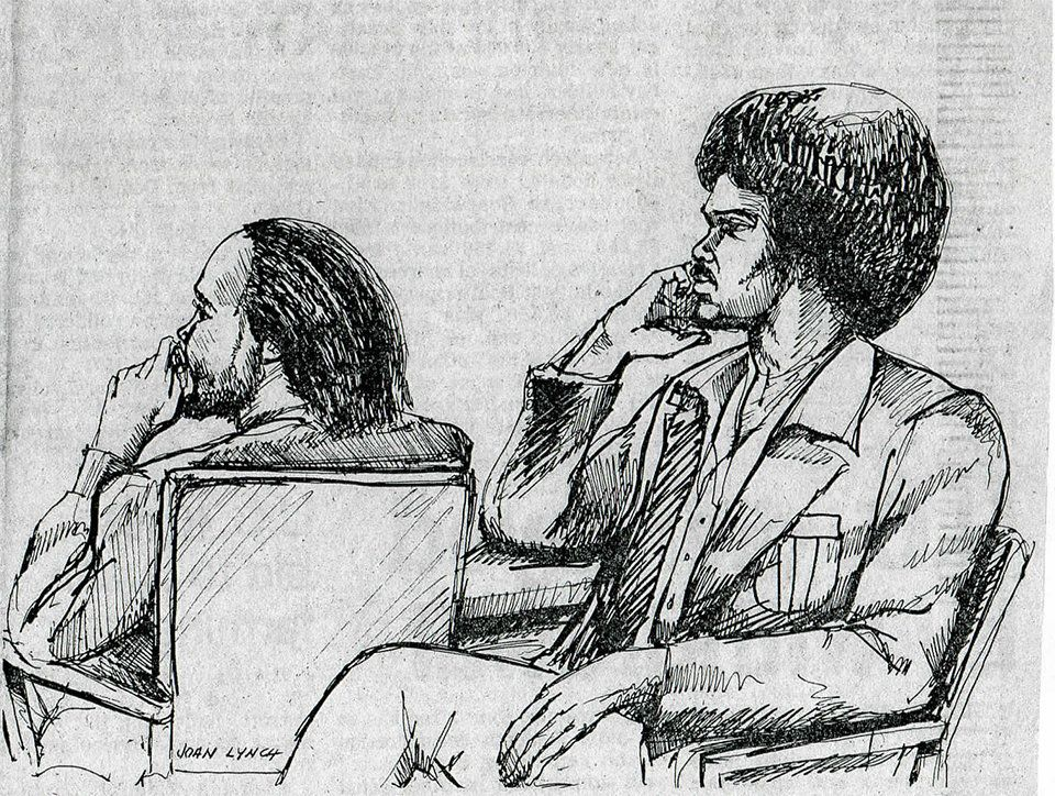 David Moore, left, and Kenneth Moore in a courtroom sketch.